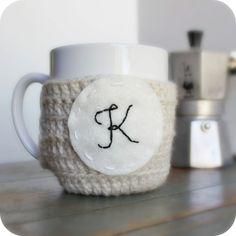 Personalized Coffee Mug Cozy Tea Cosy cream black white crochet cover monogram name initial Letter K on Etsy, $14.00