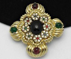 Ciner Vintage Maltese Cross Rhinestone Moghul Cabochon Brooch Pin or Pendant | eBay On SALE now - Sale Ends Monday, June 30th