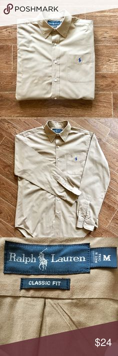 Ralph Lauren - Long Sleeve Dress Shirt Ralph Lauren - Men's Tan, Long Sleeve Button Down Casual/Dress Shirt, Size Medium. In amazing preowned condition. Please be sure to check out all of my other men's items to bundle and save. Same day or next business day shipping is guaranteed. Reasonable offers will be considered. Ralph Lauren Shirts Dress Shirts