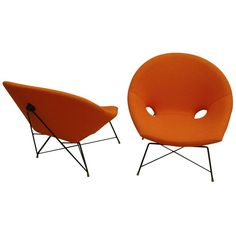 Pair of Italian Canti-Levered Lounge Chairs by Augusto Bozzi | From a unique collection of antique and modern lounge chairs at https://www.1stdibs.com/furniture/seating/lounge-chairs/