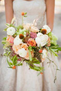 Orange, green, and white bridal bouquet   http://burnettsboards.com/2013/11/green-orange-autumn-wedding/