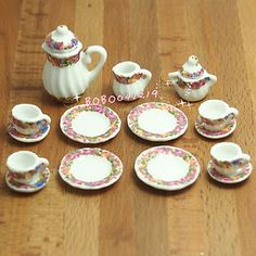 """Dollhouse Miniature 1:12 Toy Kitchen Dining Room 17 pc Porcelaine Tea set.  Size: height Of the largest pot is about 3.4cm   1""""1/3"""