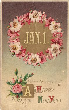 A Happy New Year Vintage Postcard by heritagepostcards on Etsy, $3.75