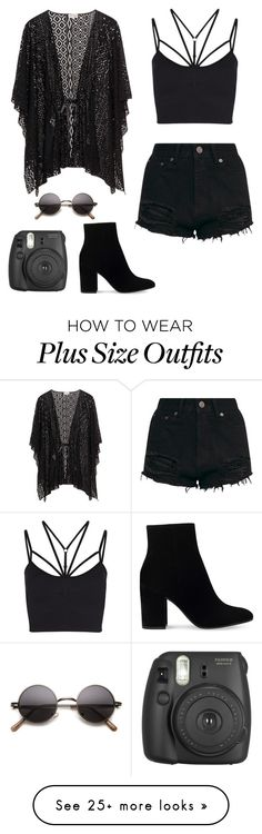 """Coachella Black (late)"" by alwaysbegoth on Polyvore featuring Sweaty Betty, Gianvito Rossi and Fujifilm"