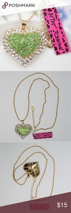 """Betsy Johnson Green Crystal Heart Long Necklace Betsey Johnson fashion jewelry long necklace to wear with sweater and perfect heart for Valentine's day.  It's super cute.  Green Crystal inlay with long gold chain. Chain Length: 28""""  with 2"""" adjustable extention chain. Pendant size: 1 3/4"""" Betsey Johnson Jewelry Necklaces"""