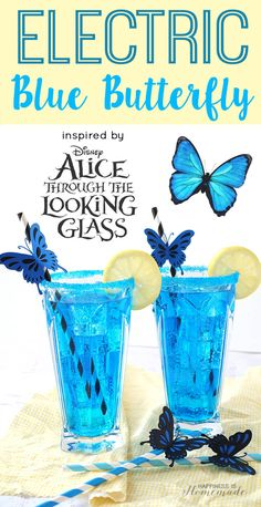 Electric Blue Butterfly Cocktail Inspired by Alice Through the Looking Glass