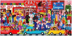 """The true colors of HIndley street"" by artist Marie Jonsson-Harrison, part Uncle Scrooge, Steve Ditko, New Brighton, Hobgoblin, Jack Kirby, True Colors, Vintage Men, Marvel Comics, Spiderman"