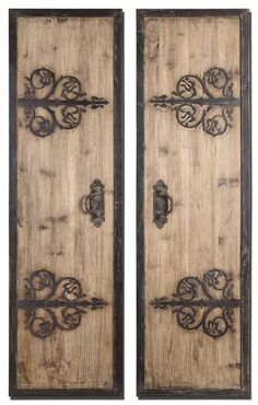 Abelard Panels - Uttermost 07630 - These oversized, decorative wall panels are made of lightly stained rustic wood with wrought iron metal details.