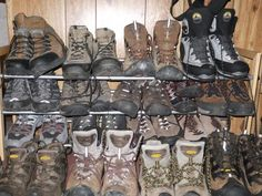 Though not all hikers and backpackers have a huge quiver of boots to choose from, choosing the right boot can make or break your trip.  These are some of my boots that I use.