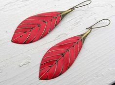 Red earrings red Leaf metal feather long by Gypsymoondesigns, $16.00