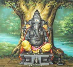 Ganesh Chaturthi marks the Birth of Lord Ganesha which falls on the Hindu month Bhadra. It is also considered as the day when Lord Ganesha comes to earth to give his blessings to the devotees. Arte Ganesha, Pintura Ganesha, Shri Ganesh, Jai Hanuman, Ganesh Images, Ganesha Pictures, Krishna Images, Om Gam Ganapataye Namaha, Spirituality