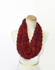 Red Brick Cowl Knit Scarf Hand Knit Cowl by ArlenesBoutique