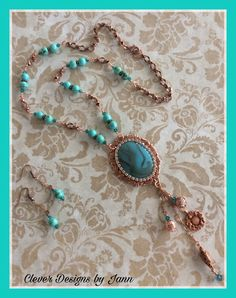 FUF 3/10/17 and March/April Challenge .. B'sue Copper Bezel, Turquoise Cab, Copper Charms and Copper Chain .. Dark Turquoise and Teal Beads are used in the chain .. Clever Designs by Jann
