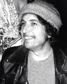 Rare photo of Bob Dylan smiling.