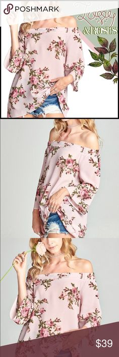 """Love and Roses Top Floral print ghost crepe blouse with an off-shoulder neckline and 3/4 length bell sleeves. Wear over long boots and a scalloped gold necklace for a photo-ready look. Content: 95% Polyester, 5% Spandex  Model Measurements Height: 5' 9"""" Bust: 34A Waist: 24""""/25"""" Hips: 34"""" Boutique Tops"""