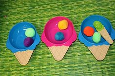 Ice cream cone plates and scoops with pom poms; Fun idea to help kids with multiplication or division