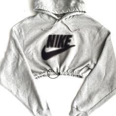Reworked Nike Swoosh Crop Hoody H.Grey ($48) ❤ liked on Polyvore featuring nike