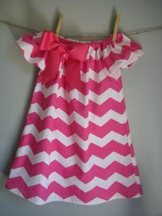 Pink Chevron Dress Peasant Dress Toddler Dress by threadandlace, $30.00