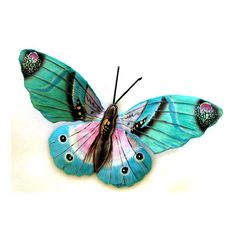 Colorful Butterfly Wall Art - Hand painted metal wall hangings ❤ liked on Polvyore