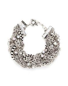 Multi Chain Opal Rhinestones Bracelet