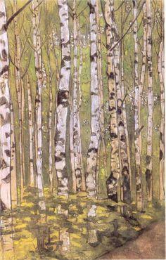 Birches by Nicholas Roerich