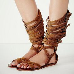 98.99$  Watch here - http://alijdb.worldwells.pw/go.php?t=32793787970 - brown summer women sandals over-the-knee summer boots flat cut-out buckle open toe fashion street style hot selling big size   98.99$