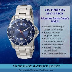 Victorinox Maverick is a gorgeous Swiss diver's watch with it's own unique design. Read this Victorinox Maverick review for more info on the watch. >>> https://automaticwatchesformen.com/victorinox-maverick-review-swiss-divers-watch