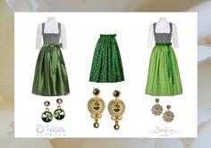 Trachtenträume in grün mit Schmuck von Perlotte - Dirndlschürze Viktoria aus Seide, Dirndlschürze Joseffa und Lieselotte aus Baumwolle mit Satinband