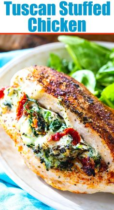 Tuscan Stuffed Chicken has a creamy filling with spinach and sun-dried tomatoes. Less than 30 minutes to make! Cream Cheese Spinach, Cream Cheese Chicken, Keto Chicken, Rotisserie Chicken, Baked Stuffed Chicken, Stuffed Chicken Breasts, Stuffed Chicken With Spinach, Mozzarella Stuffed Chicken, Italian Stuffed Chicken