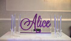 Over-sized name in glitter will instantly personalize a candy table, entryway, or candle lighting ceremony. Customizable in color and font. Size will vary based on design but can be as long as 33 inches. Base wrapped in rhinestones. Custom made to coordinate with your party decor. We can work out Sweet 16 Candles, Candle Lighting Ceremony, Pink Sweet 16, Sweet 16 Parties, Candy Table, Taper Candles, Bar Mitzvah, Sweet Sixteen, Quinceanera