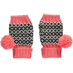 Miss Pom Pom Pink Graphic Fingerless Gloves: These Miss Pom Pom Knitted Salmon Graphic Fingerless Gloves have a black and white jacquard knit section, a chunky salmon ribbed hem, bright salmon tip and playful salmon pom poms!  Wrist warmers are ideal for covering up when it's too cold to bear, so better to do it style! Great for adding a pop of colour on a dreary day.  Miss Pom Pom is Lowie's sister label. The collections feature chunky knits and modern designs with geometric prints and…