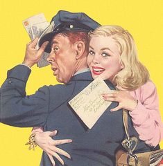 Hugging the Mailman - detail from September 28, 1952 American Weekly Magazine