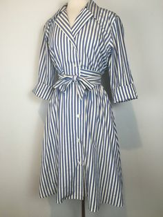 "The perfect cotton striped wrap dress by California Design ""38"" bust ""24"" waist ""44"" hips ""39"" length"