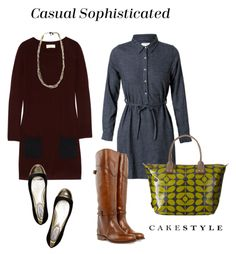 Casual Sophisticated Travel Look   sweater dress, shirt dress   ballet flats   riding boots   chain necklace