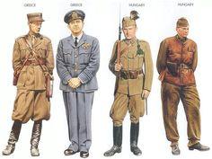 World War II Uniforms - Greece - 1940 Oct., Greece, Lieutenant, Artillery Regiment Greece - 1941 Mar., Greece, Wing Commander, Fighter Squadron Hungary - 1941 July, Southern USSR, Sergeant, Hungarian Gendarmerie Hungary - 1943 Jan., Southern USSR, 2nd Lieutenant, 1st Armored Division