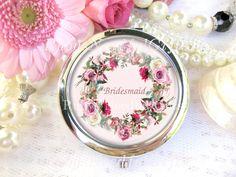 Silver Compact Mirror, cosmetic, handbag or purse mirror, Bridesmaid's Mirror, Wedding Favors, Gift for Bridesmaid, Pink Floral Mirror. by RubysNeedfulGifts on Etsy
