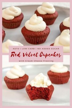 These Keto Red Velvet Cupcakes are an excellent treat that won't break ketosis. Stay low carb and enjoy the flavor of red velvet cupcakes with cream cheese frosting! They are a perfect healthy keto dessert for Valentines Day or any other special occasion #redvelvet #ketodesserts #LCHF Keto Friendly Desserts, Low Carb Desserts, Low Carb Recipes, Dessert Recipes, Easy Recipes, Dessert Ideas, Baking Recipes, Healthy Recipes, Diet Cheesecake Recipe