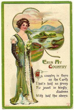ST PATRICKS DAY POSTCARD Erin Ireland Irish Shamrock Isle  Vintage 1915 embossed