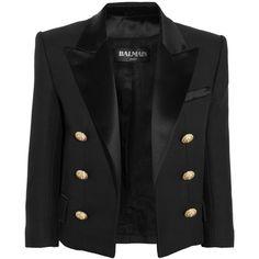 Balmain Cotton and silk-blend piqué tuxedo jacket (€920) ❤ liked on Polyvore featuring outerwear, jackets, blazers, coats, coats & jackets, black, cropped jacket, cropped black blazer, black tuxedo jacket y black blazer