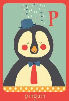 Alfabet print - P - Pinguïn - Pimpelpluis - https://www.facebook.com/pages/Pimpelpluis/188675421305550?ref=hl - (nursery print illustration kids children art poster dieren kinderen cute illustratie animal alphabet) abc cards