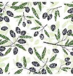 Olive seamless pattern black fruits grunge leaves vector 1558337 - by SvetaP on VectorStock�