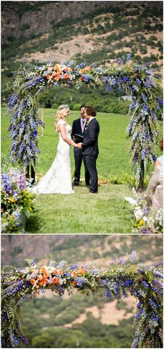 Beautiful flower arch, floral arbor, blue and purple snapdragons, orange flowers, California wedding, outdoor ceremony // Arrowood Photography