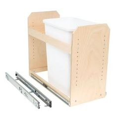 Slide-A-Shelf Made-To-Fit 35 qt. Single Bin Slide-Out Trash/Recycle Center 11 in. to 24 in. Wide, Full Extension (Bin Not Included), Light Brown Wood Container Organization, Food Storage Containers, Storage Organization, Attic Storage, Storage Rack, Trash And Recycling Bin, Recycling Center, A Shelf, Shelves