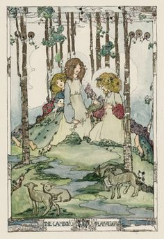 """The Lambs Play Away"" by Jessie M King (1875-1949) - from her suite of illustrations for ""Seven Happy Days"", a supplement to the New Year's Edition of ""The Studio"" (1914)."