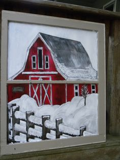 Hand Painted Window Art Holiday Decoration Barn by HuddyCreations