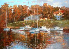 Eenzame boten - € 240,- Paletmes olieverfschilderij op Canvas byDmitry Spiros. Zee art. Zeedijk kunst zeewering decor zee kamer decor, home decor van zee