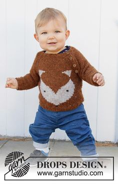 Little Fox - Knitted jacket for children in DROPS Sky. The piece is worked top down with round yoke, lace pattern, stockinette stitch and garter stitch. - Free pattern by DROPS Design Baby Sweater Patterns, Baby Patterns, Knitting Patterns Free, Knit Patterns, Free Knitting, Baby Knitting, Finger Knitting, Knitting Machine, Drops Design