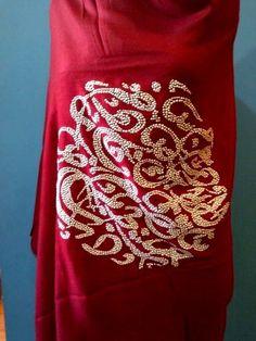Calligraphy Alphabet studs on soft pure pashmina shawl