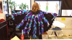 Middle stage of Vlad the Black Bottom Eagle costume from Metropolitan State University's production of Seussical, designed by Faith Reed and constructed by me (Rachael Gibson), worn by Caitlin Peterson