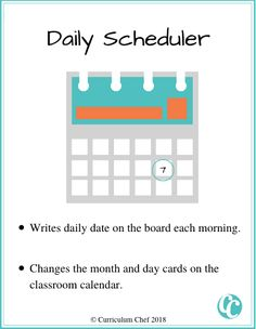 classroom jobs for elementary students daily scheduler Classroom Jobs Board, Classroom Calendar, Classroom Helpers, Classroom Organization, Classroom Management, School S, First Day Of School, School Ideas, Helper Jobs